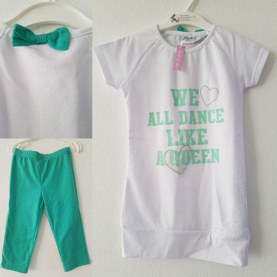 Knot so Bad-meisjes-set 3/4 legging en tuniek-kleur: wit/groen-maat 116