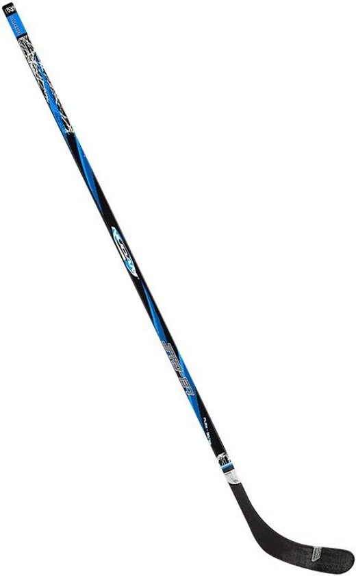 Nijdam IJshockeystick Hout/Glasfiber Jr - 137 cm - Zwart/Blauw/Zilver - Links