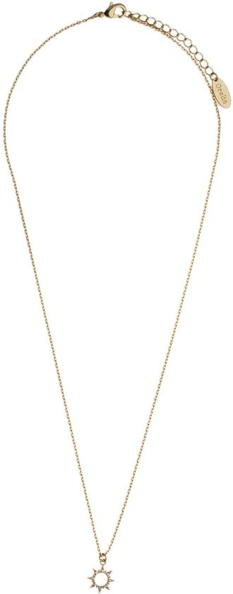Orelia kettinkje kort met open zonnetje - Brass, goudkleurig - 40,5 cm + 5 cm verlengstuk + 1 cm bedel