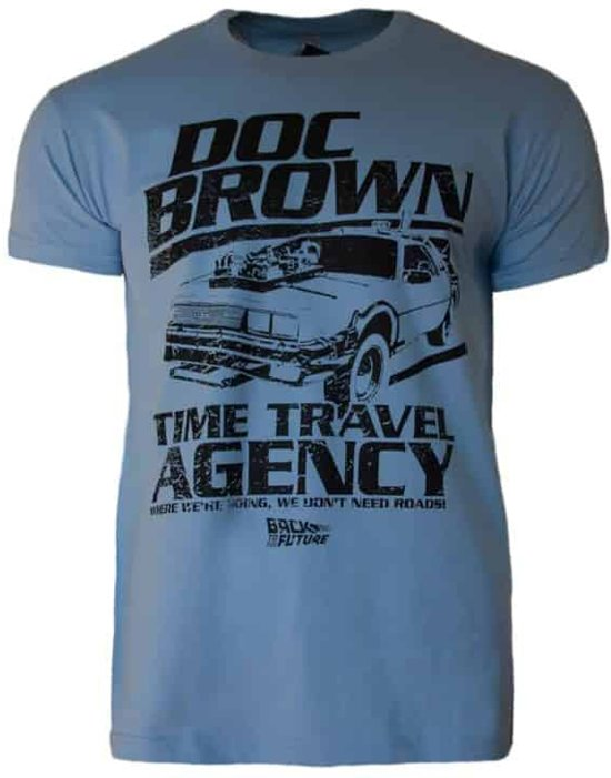 Back to the Future Shirt – Doc Brown's Time Travel Agency maat S