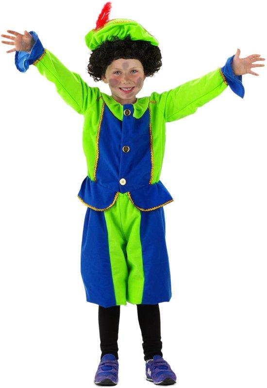 Afbeelding van Pietenpak Blauw/Groen - 3 delig - Maat S - 103/116 - 3-5 jaar - Carnavalskleding speelgoed