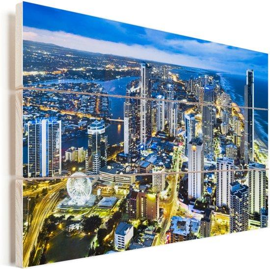 De Gold Coast bij schemering in het Australische Queensland Vurenhout met planken 30x20 cm - klein - Foto print op Hout (Wanddecoratie)