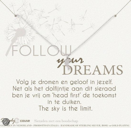 Simply Because Follow your dreams! Ketting (zilver, bedel dolfijntje) 42 cm