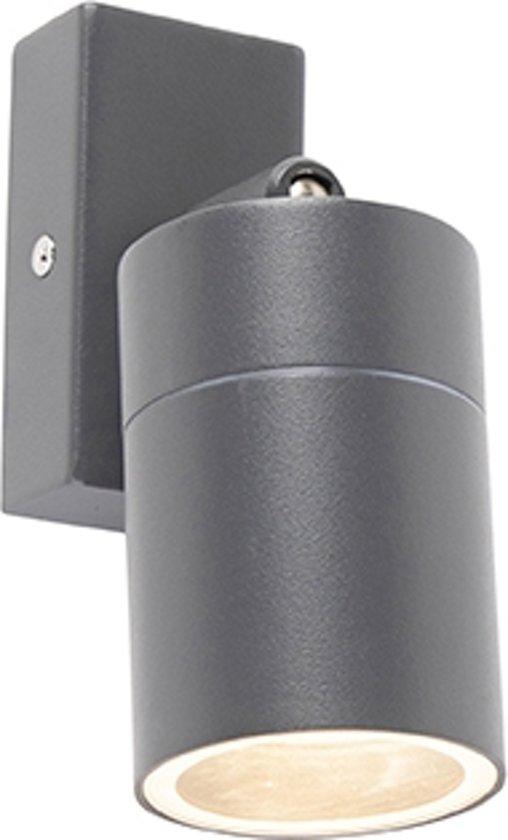 QAZQA solo wl - Wandlamp - 1 lichts - D 150 mm - Antraciet