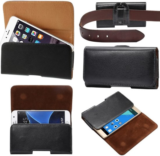 Riem Holster lederen Case Hoesje voor Vodafone Smart Ultra 7 en Smart platinum 7