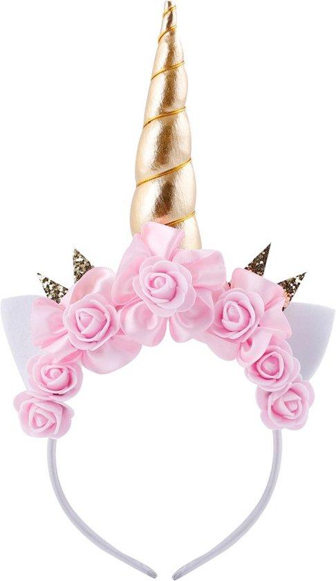c93a091965608f Eenhoorn diadeem roze unicorn haarband goud met oortjes en bloemetjes -  gouden hoorn glitter lolita metallic