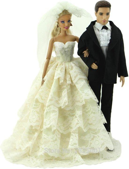Bruidspaar kleding voor modepoppen - Witte trouwjurk en zwart kostuum voor modepoppen