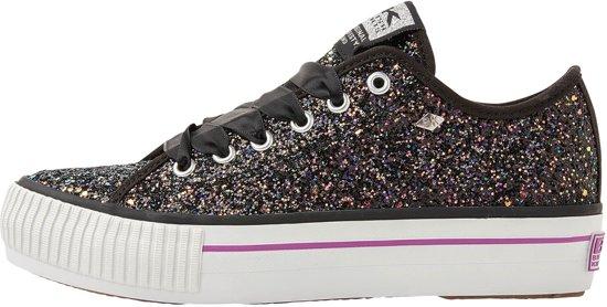 40699863445 British Knights MASTER PLATFORM - Dames - Platform Sneakers - Zwart met  Glitters - Maat 36