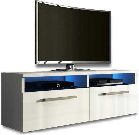 Tv Kast 40 Diep.Tv Kast Tv Meubel Silver Met Led Verlichting Wit