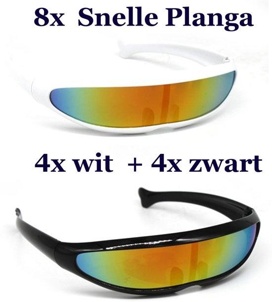 178e4eb7c57925 8x Snelle Planga  4x wit en 4x zwart frame met Rainbow UV400 glazen.
