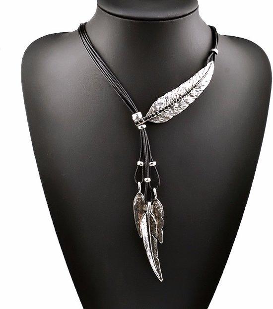 Ketting met veer hangers - zilver - zwarte zirkonia stenen - 90 cm + 5 cm verstelbaar