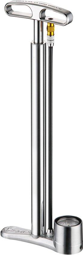 Lezyne CNC Travel Floor Drive - Fietspomp  - Aluminium - Presta/Schrader Ventiel - Zilver