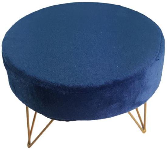 Decoratief krukje met fluweel - Blauw / Goud - Metaal / Hout - 18,5x18,5x13cm
