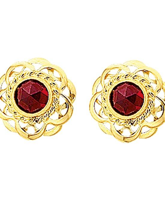 The Jewelry Collection Oorknoppen Granaat - Geelgoud
