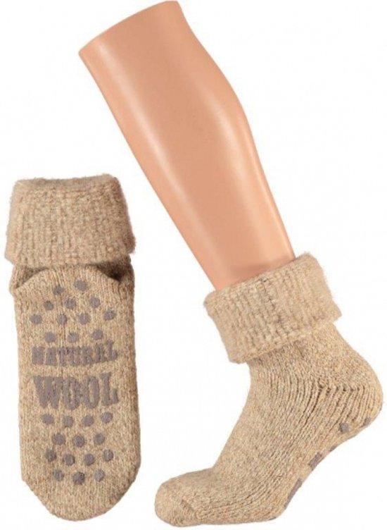 Wollen huis sokken voor dames bruin 39-42 - Warme antislip sokken