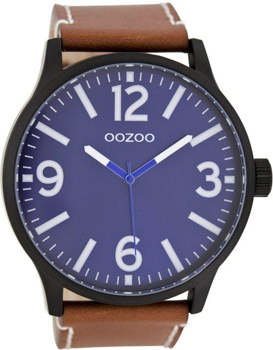 OOZOO Timepieces Cognac/Blue horloge C7401 - Leer - Bruin