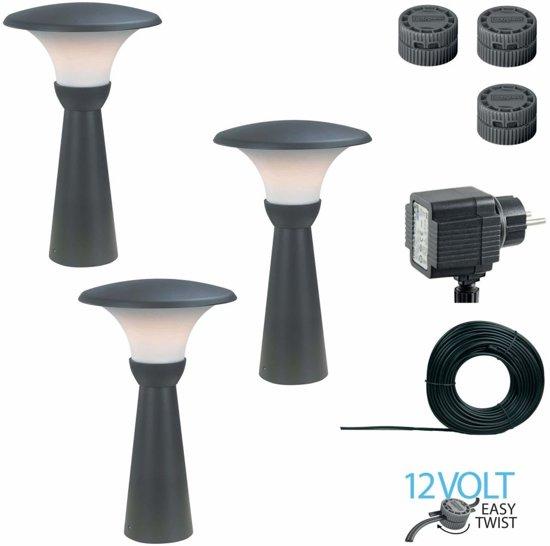 bol.com | Luxform 12V LED tuinverlichting 3-set Perth 43cm