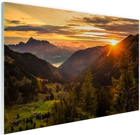 FotoCadeau.nl - Zonsopgang achter de bergen Glas 30x20 cm - Foto print op Glas (Plexiglas wanddecoratie)