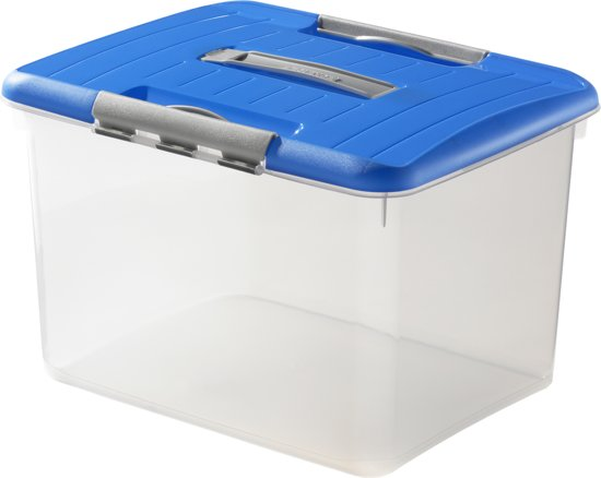 Curver Optima Opbergbox - 30 l - Transparant / Blauw