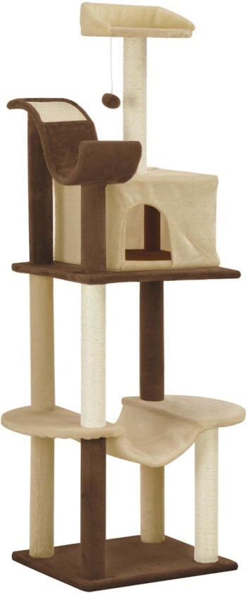 vidaXL Kattenkrabpaal met sisal krabpalen 155 cm bruin en beige