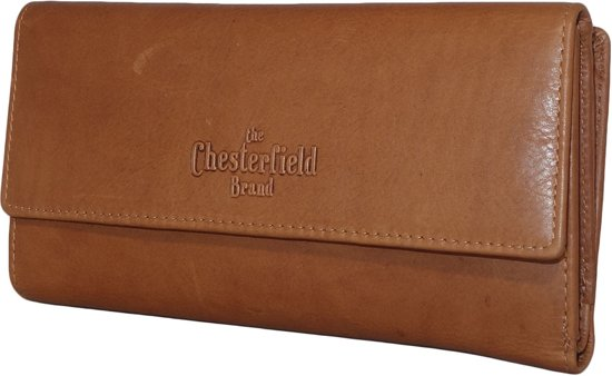 2d8c3ae4f11 Chesterfield Overslag Leren dames portemonnee met ritsvak Dahlia XL Cognac