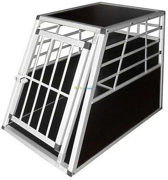 Tectake Single Hondenbench Aluminium- Zwart/Zilver - 90 x 65 x 69 cm