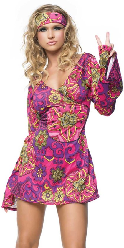 76aeb9bb7c7339 Hippie jurkje paars roze