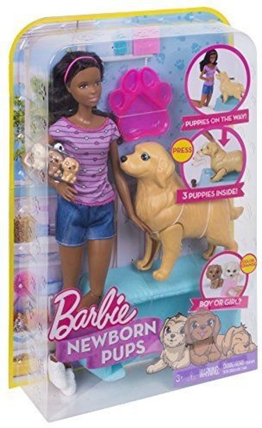 Barbie Newborn Pups Doll & Pets pop