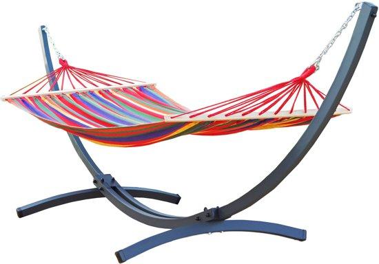 Potenza Prime-Tweepersoons Hangmatset / 2-persoons Hangmat met standaard - Aluminium