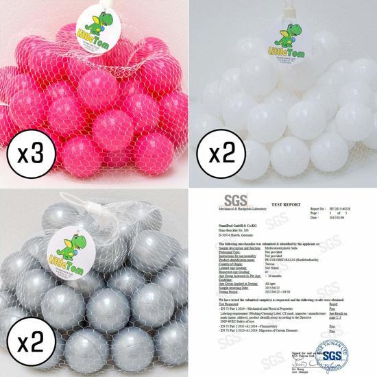 LittleTom – Knuffelig Ballenbak met 350 Babyballen – Set vanaf 0 Jaar – 90 x 30 cm – Ballenbad in Roze – Ø 5,5 cm Ballen in Pink, Wit & Grijs