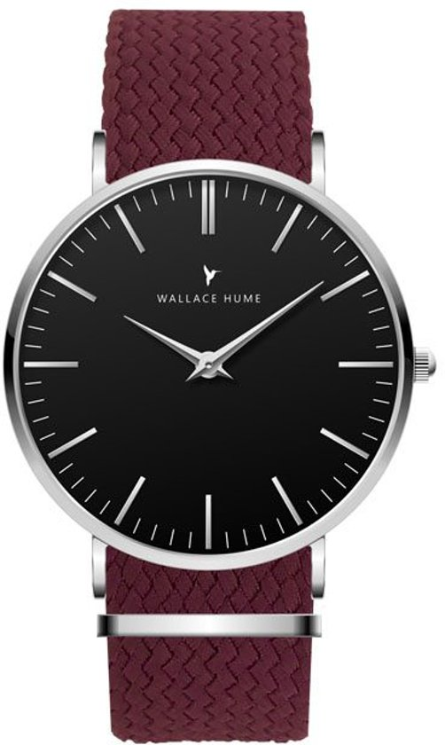 Wallace Hume Zwart - Horloge - Perlon - Bordeaux Rood
