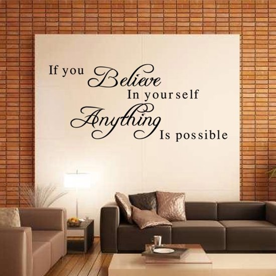 Sticker Teksten Voor Op De Muur.Bol Com Muur Sticker Tekst Believe In Yourself Quote Murphy