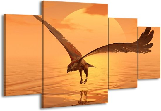 Canvas schilderij Vogel | Geel, Bruin | 160x90cm 4Luik