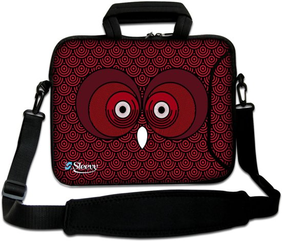 a4be79994d3 Sleevy 17,3 laptoptas rode uil - laptophoes voorvak - laptop sleeve -  smalle laptoptas