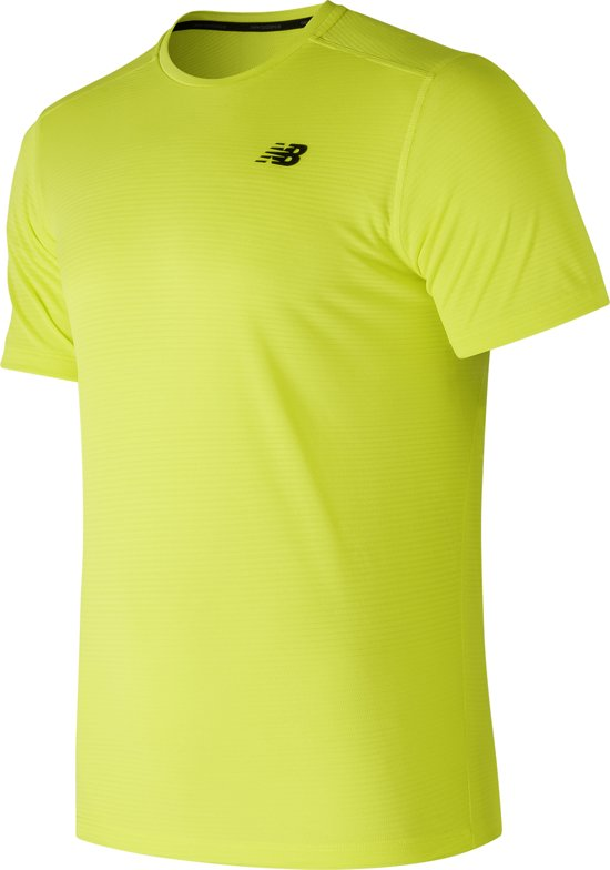 New Balance Max Intensity SS Sportshirt Heren - Yellow - Maat M