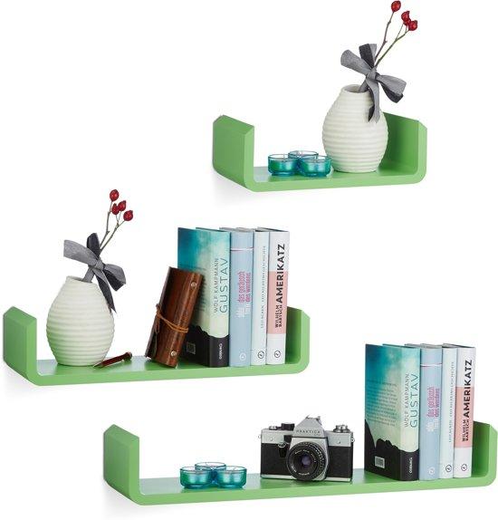 relaxdays wandplank set van 3 - U-vorm - wandbox - MDF - zwevend wandboard - kruidenrek groen