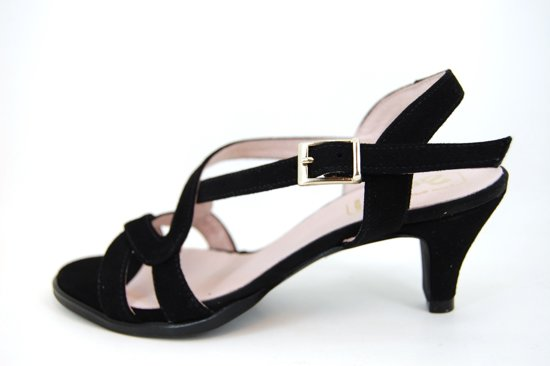Stravers- Maat 42 Sandalen met elegante hak zwart Grote Maten 43, 44, 45, 46