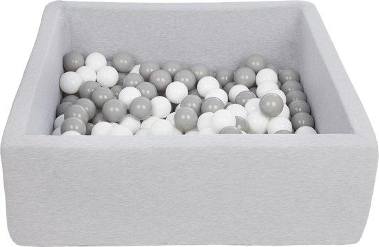 Ballenbak - stevige ballenbad - 90x90 cm - 150 ballen - wit, grijs.