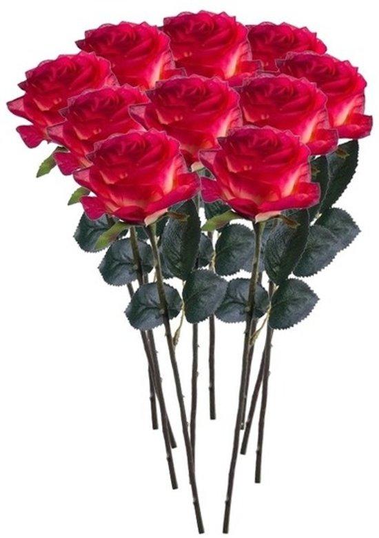 10x Rood/gele rozen Simone kunstbloemen 45 cm