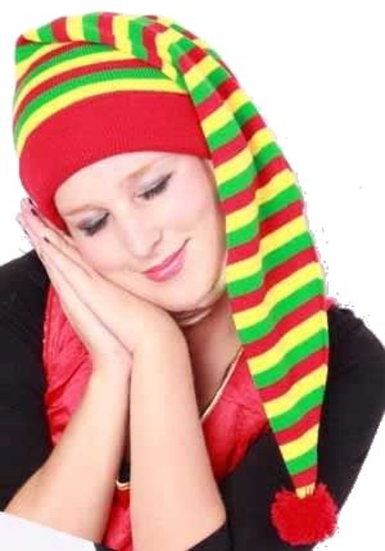 Slaapmuts gestreept rood/geel/groen