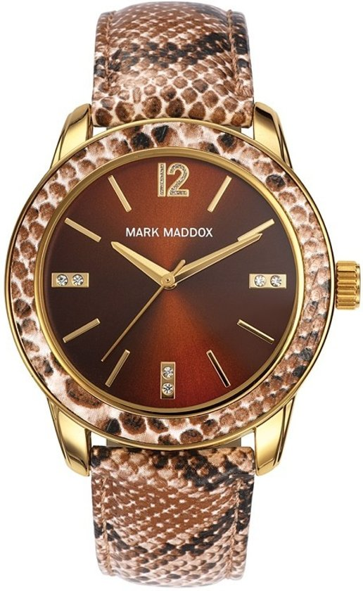Mark Maddox Lady Animal Print  MC3007-45 - Horloge - Bruin - 30 mm