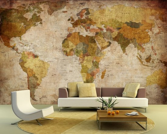 Fotobehang retro wereldkaart 300x210cm vliesbehang - Carta da parati soggiorno ...
