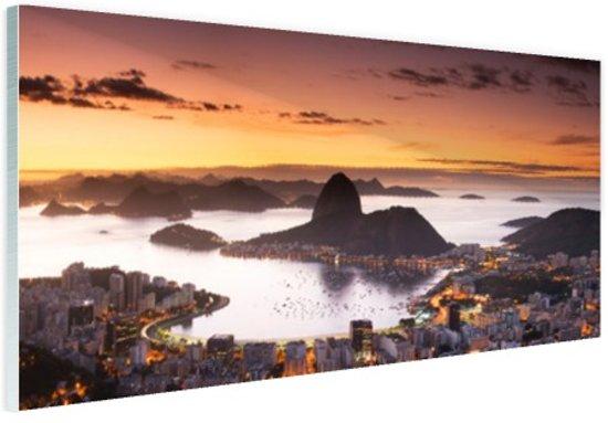 Zonsondergang Rio de Janeiro Glas 120x80 cm - Foto print op Glas (Plexiglas wanddecoratie)