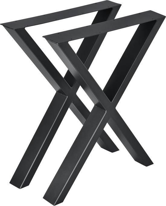 Tafelpoten Metaal Zwart.Stalen X Tafelpoot Meubelpoot 2 Stuks Set 59x72cm Zwart