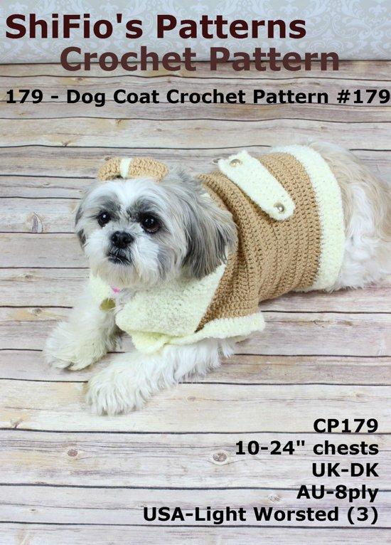 bol.com | 179: Dog Coat Crochet Pattern USA #179 (ebook), Shifio\'S ...