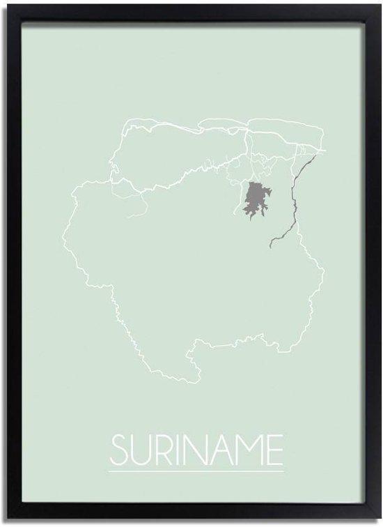Plattegrond Suriname Landkaart poster DesignClaud - Pastel groen - A2 + fotolijst zwart