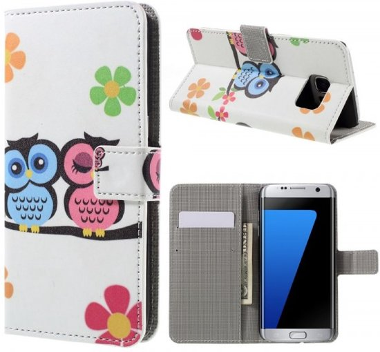 qMust - Samsung Galaxy S7 edge hoesje - Book Wallet Case - Cute Owls in Anseroeul