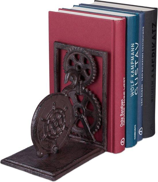 relaxdays boekensteun - retro - gietijzer - boekenhouder - vintage - boekenstandaard A