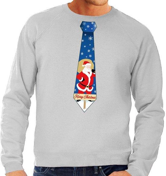 Foute kersttrui / sweater stropdas met kerstman print grijs voor heren L (52)
