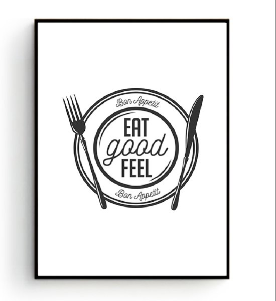 Muurdecoratie Voor Keuken.Bol Com Postercity Design Canvas Poster Eat Good Feel